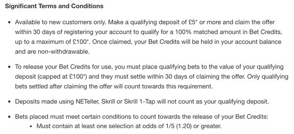 Match betting tips - Check bookies terms and conditions