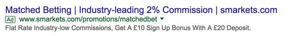 Smarkets advertising matched betting