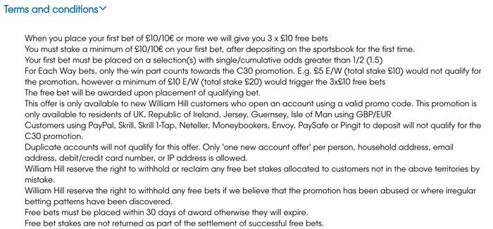 Qualifying criteria - William Hill