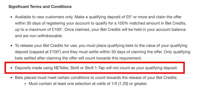 Matched betting and excluded payment methods
