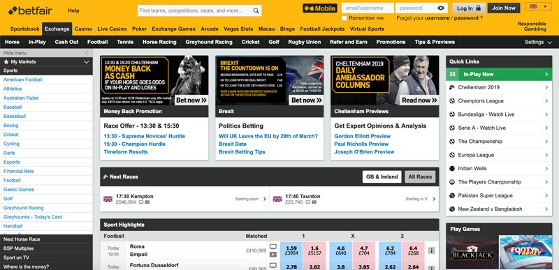 Using Betfair in the USA