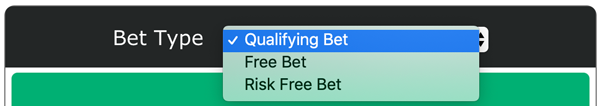 Matched betting calculator options