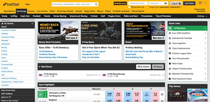 Betfair review - website design