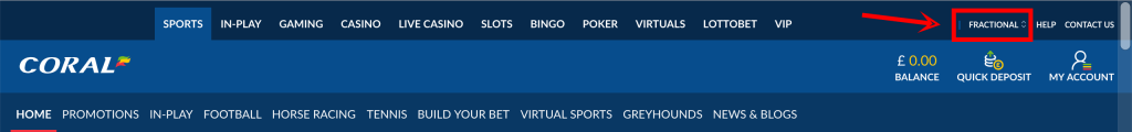 How to convert Coral betting odds