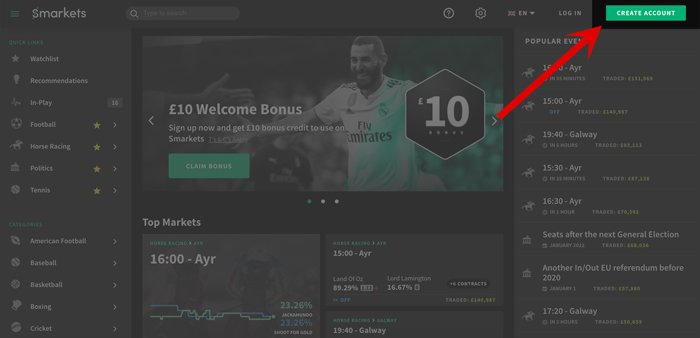 How to open a new betting account at Smarkets