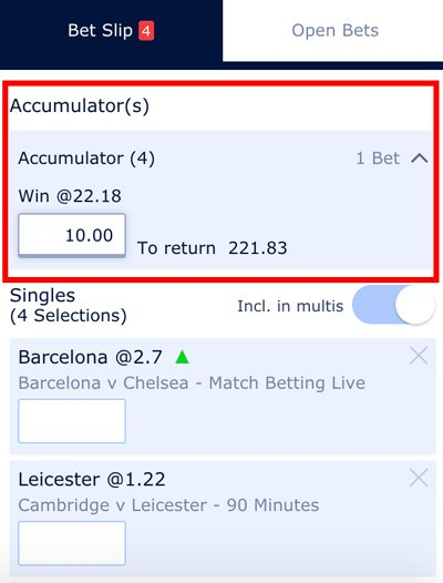 Placing accumulator bets