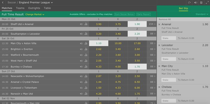 How to place accumulator bets