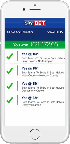 Sky Bet accumulator win