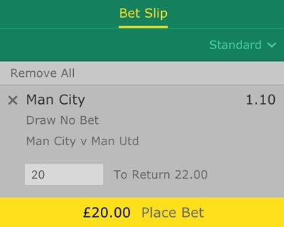 Draw no bet betting slip