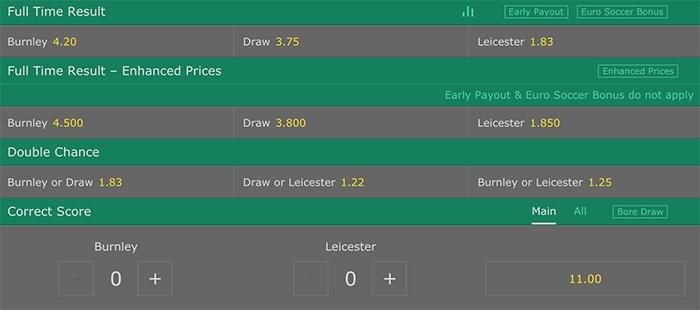 Bet365 premier League betting