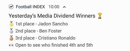 Football Index media winners
