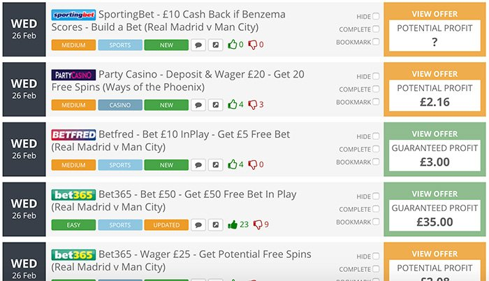 OddsMonkey matched betting offers
