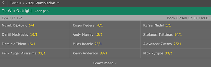 Outright betting with bet365