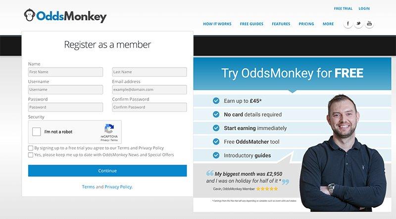 OddsMonkey sign up process